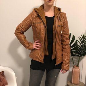 Hooded Leather Jacket- NWOT